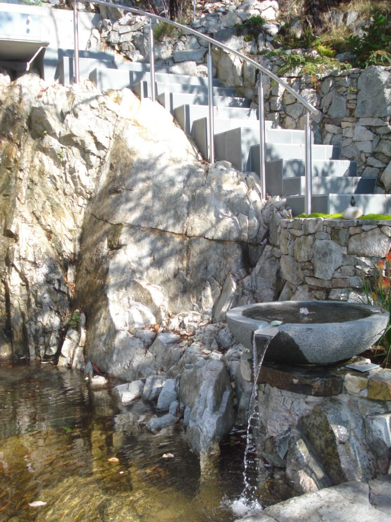 Stairs and  water feature